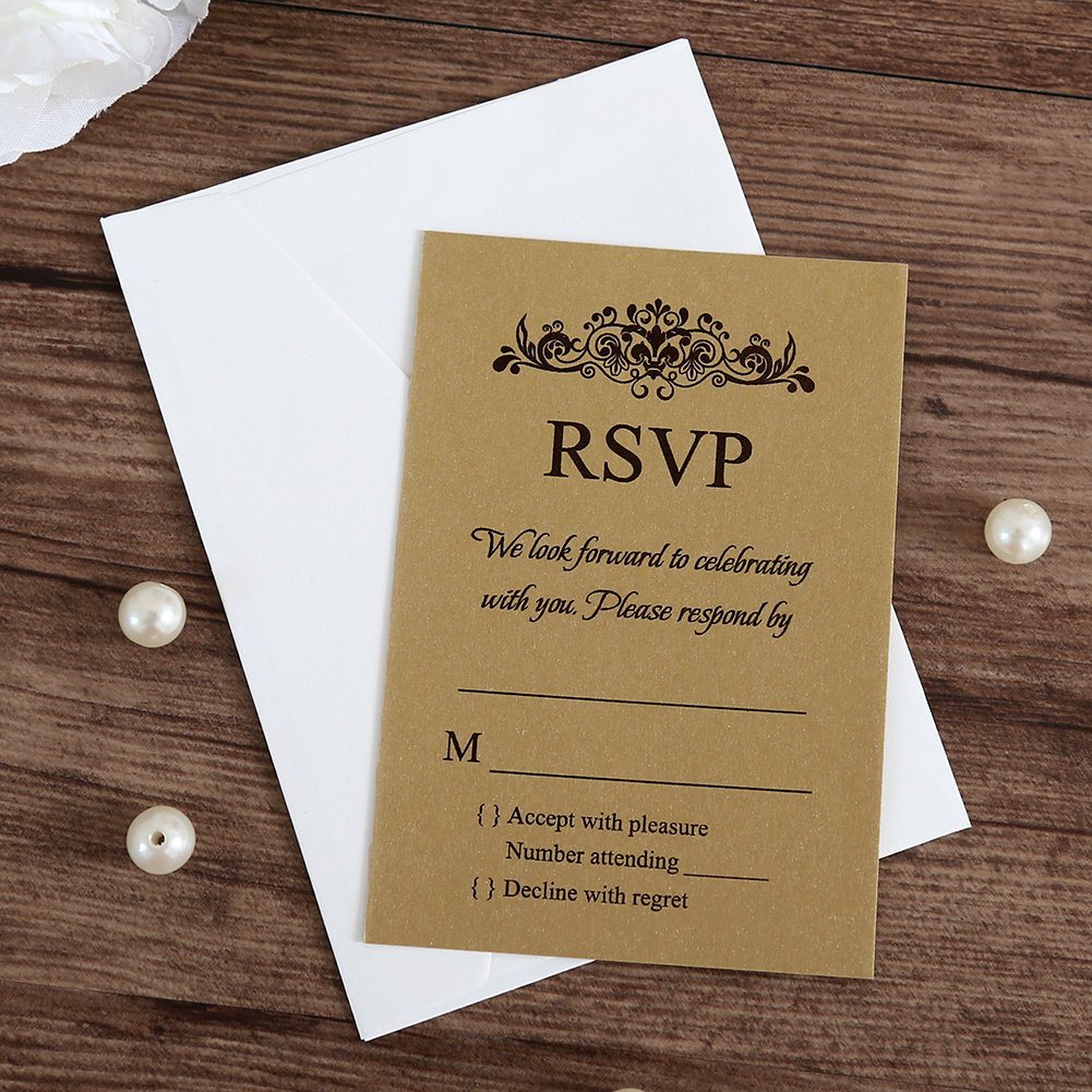 bc55f4021ec3 Amazon.com  Doris Home 50 pcs lot Gold Rsvp cards with white envelopes for  wedding invitations