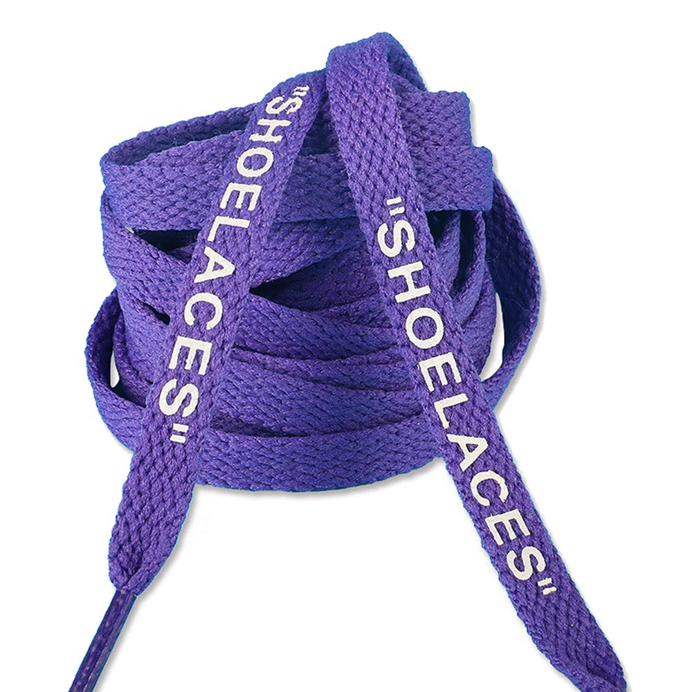 Jurxy 3 paires Shoelaces Lacets Plats Imprim/és Texte Lacets de remplacement pour baskets de lacets de chaussures de sport 1,2 M Noir Blanc Pourpre