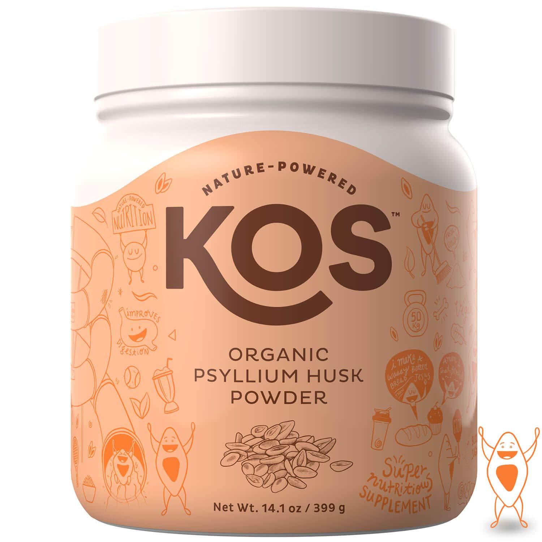 KOS Organic Psyllium Husk Powder - Everyday Fiber Support Psyllium Husk Powder - Finely Ground for Easy Mixing & Baking (Keto Bread) USDA Organic Plant Based Ingredient, 399g, 105 Servings by KOS