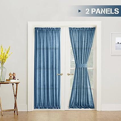 Sheer French Door Panels 72 Inch Linen Textured Voile Room Darkening 2  Panels Patio French Door