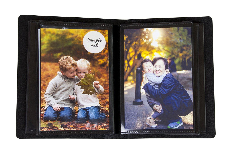 2PO Photo Album 4x6 Inch Holds 100 Photos - Art Portfolio with Protective Poly Case - Space Saver