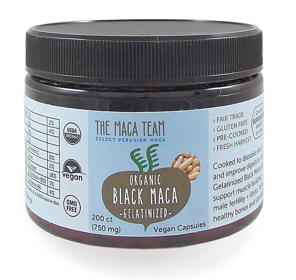 Gelatinized Black Maca Root Capsules - Certified Organic, Fresh Harvest from Peru, Fair Trade, GMO-Free, Gluten Free and Vegan - 750 Mg, 200 Ct by The Maca Team
