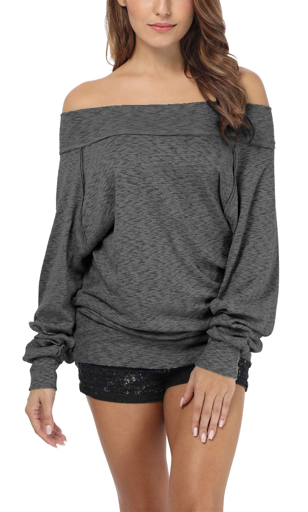 iGENJUN Women's Dolman Sleeve Off The Shoulder Sweater Shirt Tops,Dark Grey,XL