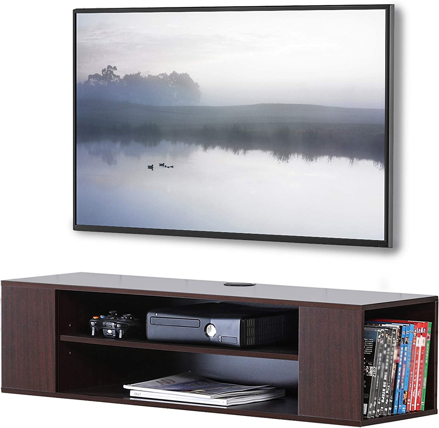 Amazon Com Fitueyes Wall Mounted Media Console Modern Floating Tv Stand Shelf Entertainment Center Storage Component Shelves For Xbox One Ps4 Vizio Sumsung Sony Tv Brown Furniture Decor