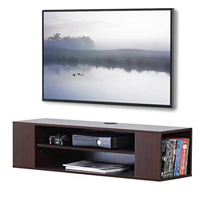 FITUEYES Brown Wood Grain Wall Mounted Audio Video TV Console for Xbox PS4  DS210001WB