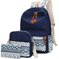 WKBY Women 3pcs/Set School Bags Shoulder Backpack Rucksack for Teenagers Girls Gifts