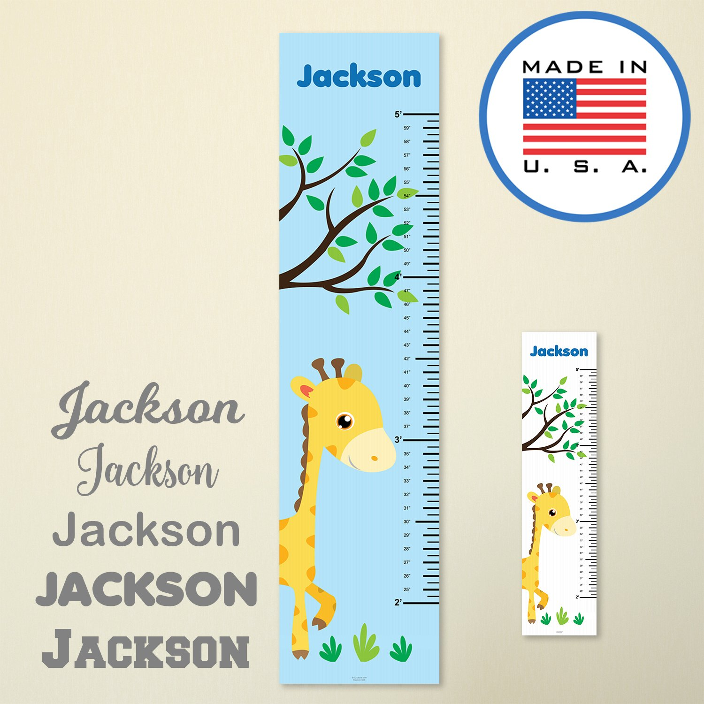 321Done Personalized Hanging Growth Chart, Giraffe and Tree, Kids Height Ruler, Premium Vinyl Nursery Wall Decor Jungle Safari Blue