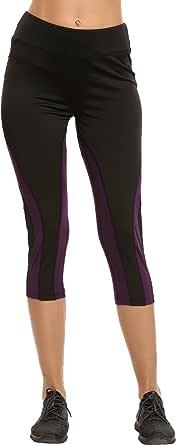 Ekouaer Womens Patchwork Quick Dry Yoga Leggings Sports Capris Pants Running Tights