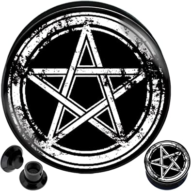 0G 00G 12 916 58 34 78 1 PICK SIZE Silver Pentacle Pentagram Plugs  Gauge Plug Halloween