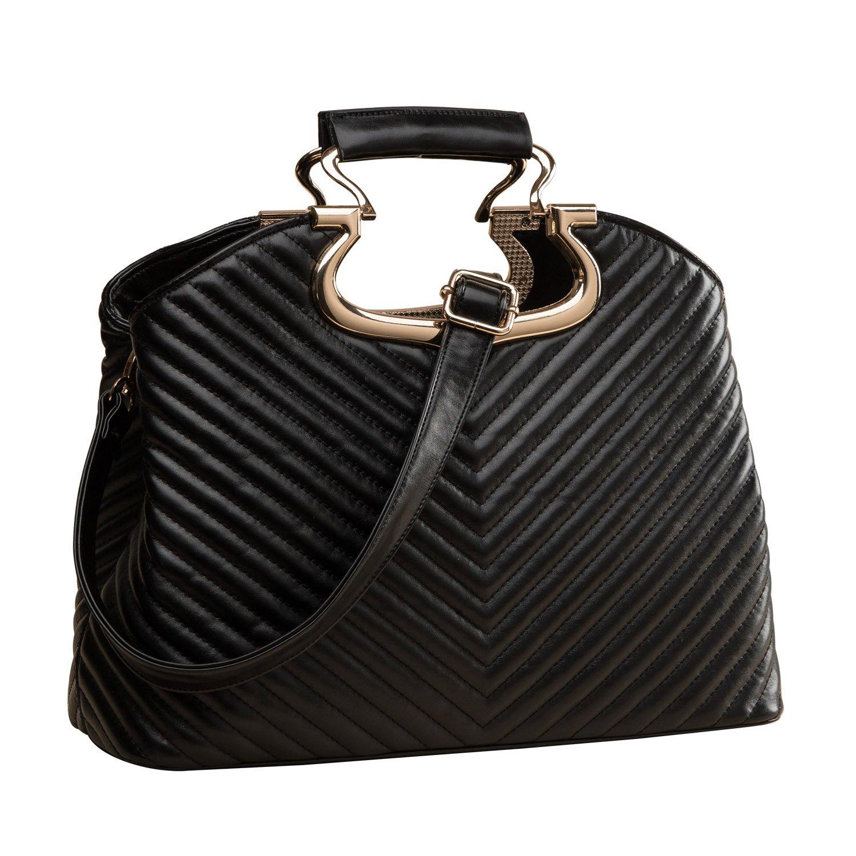 20d03440ba EcoCity Ladies Quilted Designer Leather Satchel Handbags Purse Messenger  Shoulder Bags For Women (Black)  Amazon.co.uk  Shoes   Bags