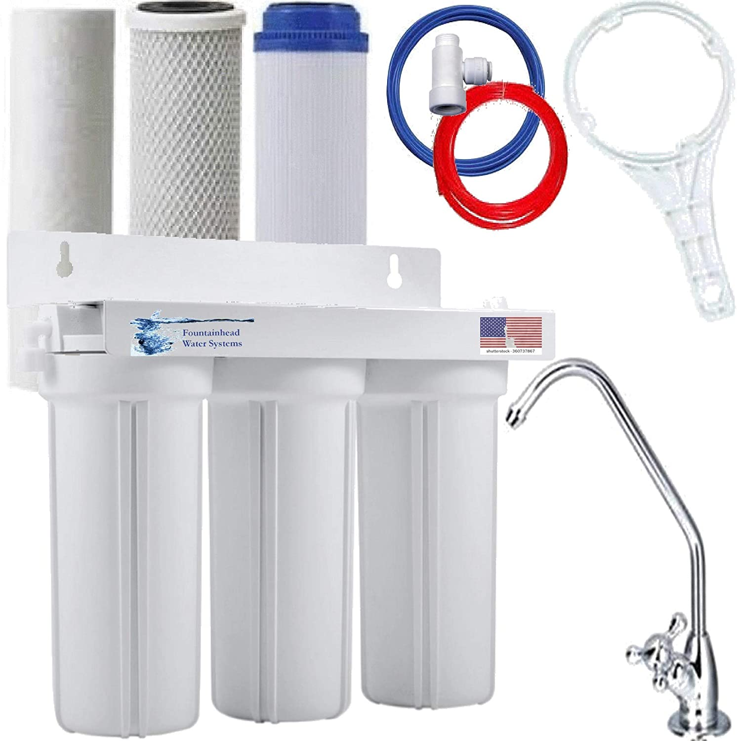 Drinking Water Filter 2 stage undersink sediment carbon with faucet