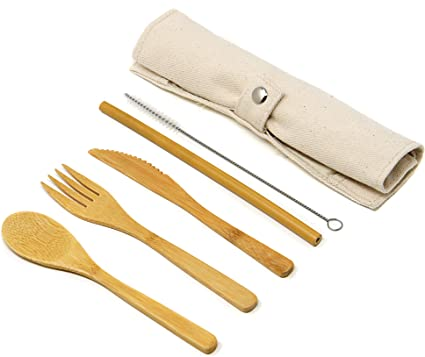 Maison & White Juego de cubiertos reutilizables de bambú   Juego de utensilios biodegradables de madera para viajes y camping   Reemplazos de plástico