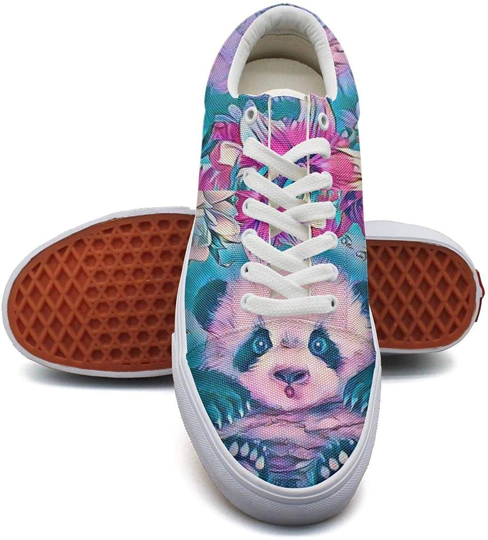 Aijhor Fas Cute Slip On Sneakers For Women Lightweight Panda Canvas Tennis Shoes