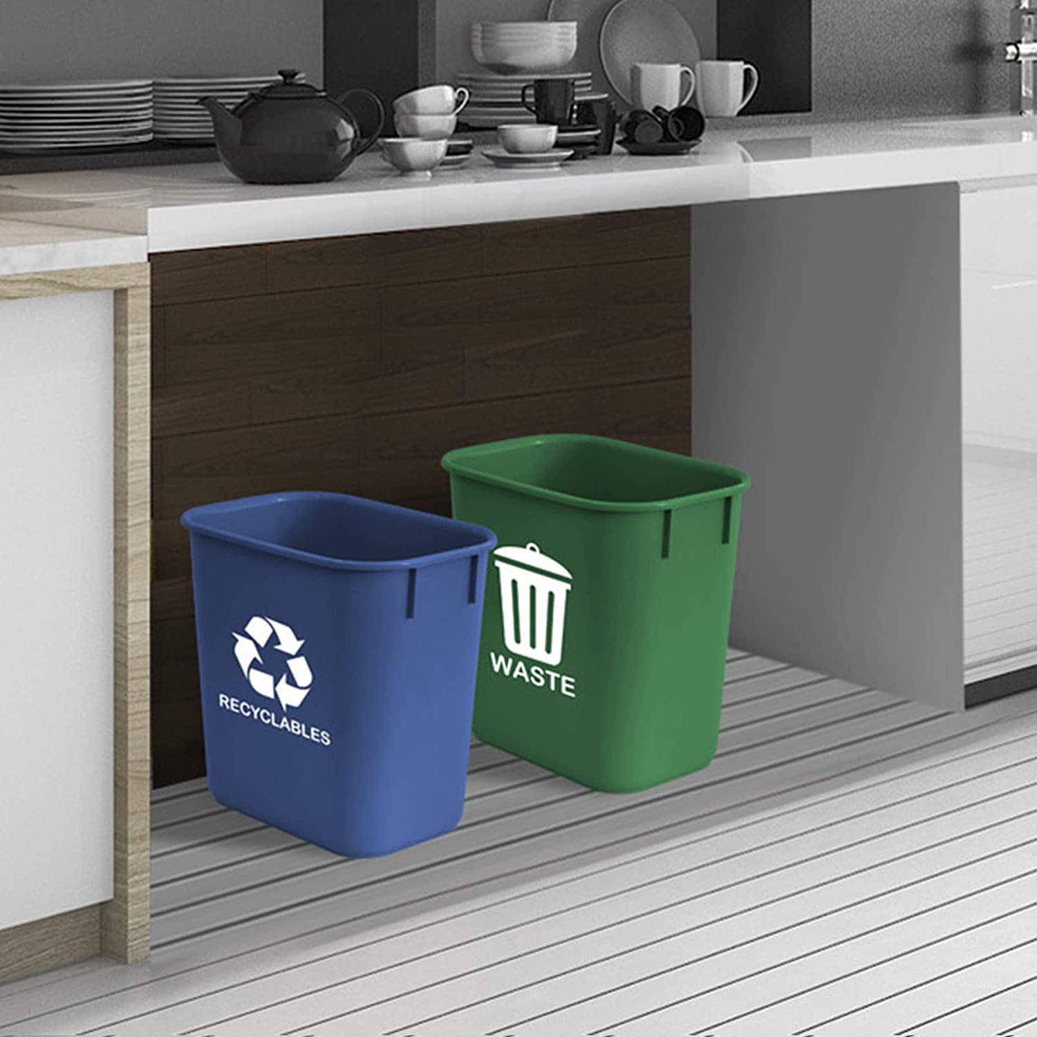 Plastic Green and Blue Set of 2 Acrimet Wastebasket Bin for Recycling and Waste 13QT
