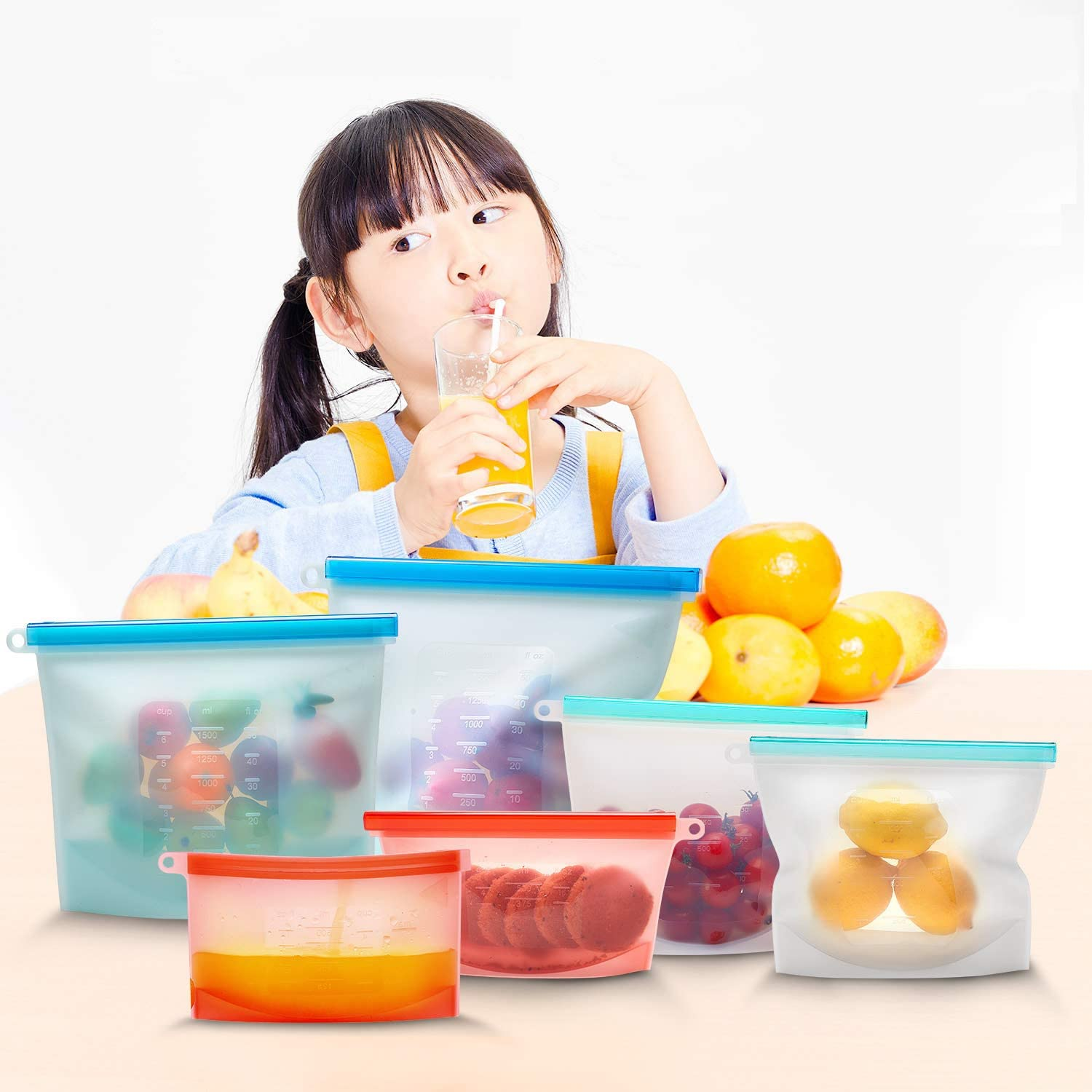 Reusable Silicone Food Storage Bags Airtight Seal Food Preservation Bag/Food Grade/Versatile Silicone bags for Fruit, Sandwich, Liquid, Snack, Meat, Vegetable   BEST for Preserving and Cooking