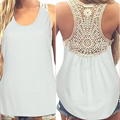 2a8addffb2e8a2 Gillberry Women Summer Lace Vest Top Short Sleeve Blouse Casual Tank Top T- Shirt at Amazon Women s Clothing store