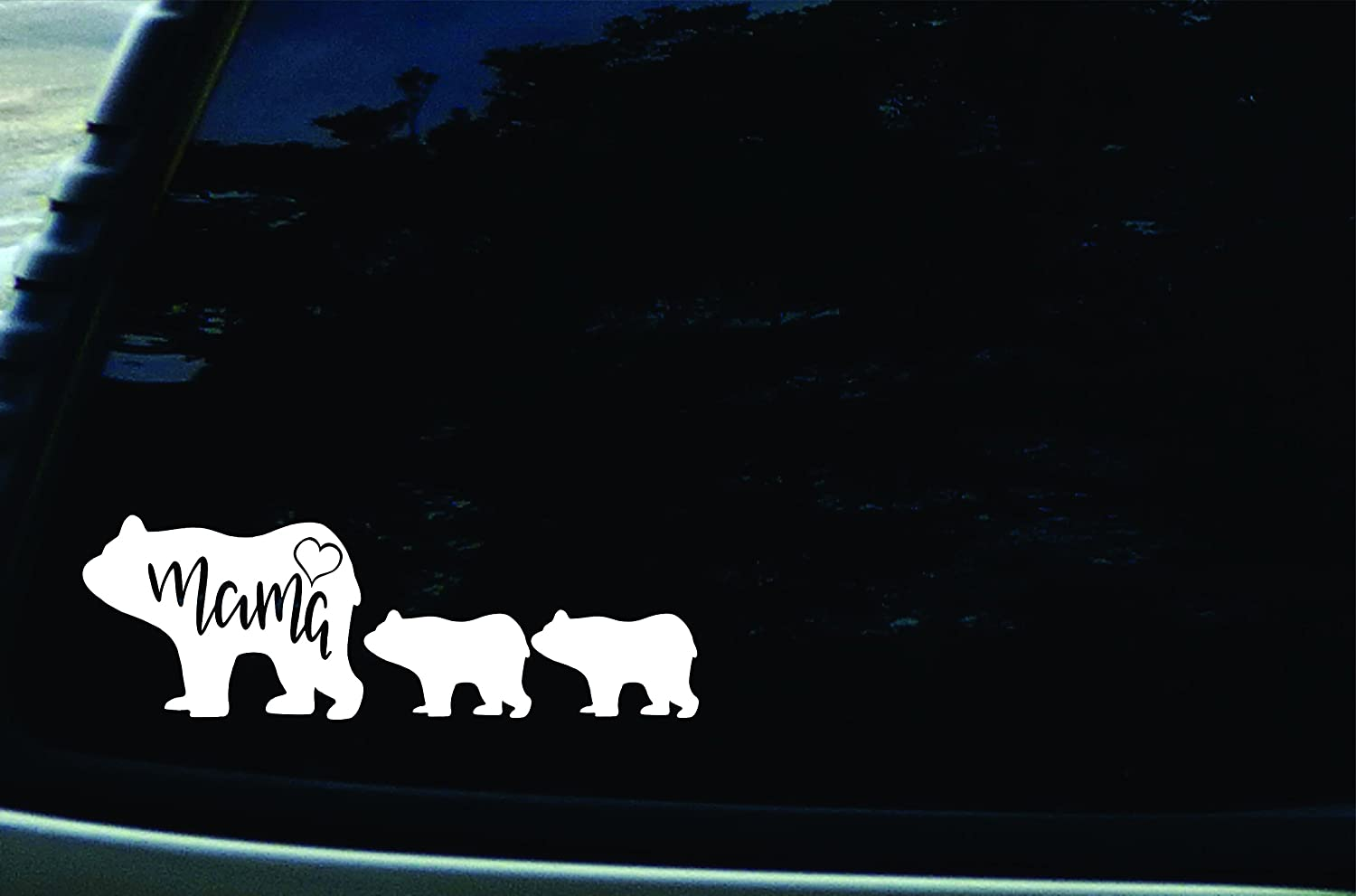 """SFD 9"""" X 3"""" Mama Bear with Cubs Vinyl Die Cut Decal for Your Car, Truck, Laptop, Window"""