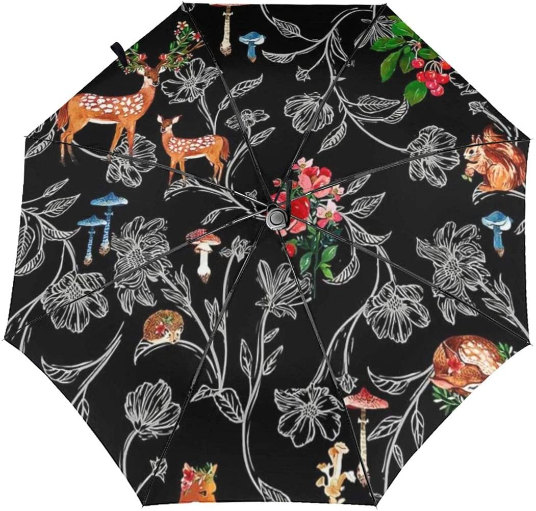 Flowers Woodland Animals Deer Fox Sun Umbrella Parasol UV Protection Auto Open Folding With Sun Protection For Women