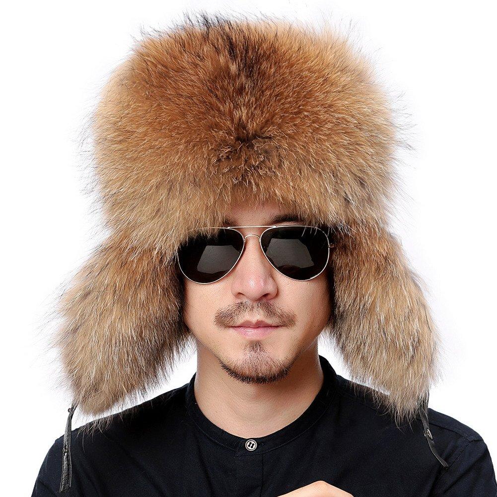 4d624b73 Valpeak Mens Winter Hat Real Raccoon Fur Genuine Leather Russian Ushanka  Hats (Raccoon)