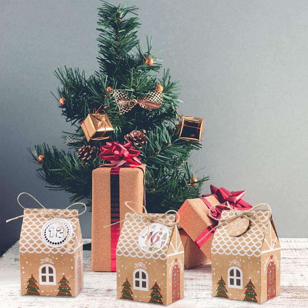 Bolsas de Papel Kraft Bolsa De Regalo Navidad con 24 Pegatinas de Fieltro Bricolaje Calendario Adviento Decoraci/ón Navide/ña para el Hogar MELLIEX 24 Piezas Bolsa para Calendario de Adviento