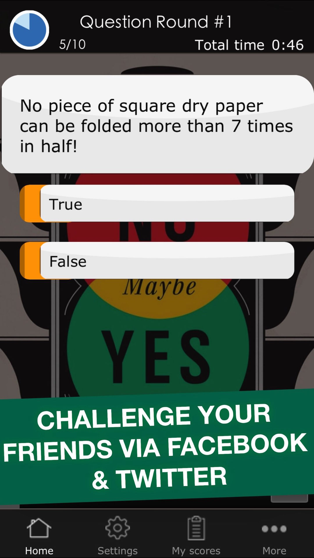 True Or False Challenge Funny Science Quiz Trivia Game