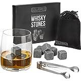 GOURMEO Whisky Steine (9 Stück) aus natürlichen Speckstein I 2 Jahren Zufriedenheitsgarantie I wiederverwendbare Eiswürfel, Whiskysteine, Whisky Stones, Kühlsteine