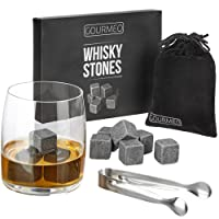 GOURMEO Whisky Stones Gift Set from natural soapstone, 9 pieces, with velvet gift pouch, perfect for keeping your whiskey, scotch or wine cool | 2 Year Satisfaction Guarantee | drink rocks, cooling whisky cubes, reusable chilling stones