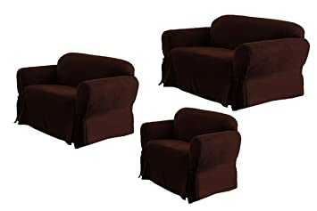 Amazoncom SOLID SUEDE Couch Cover 3 Pc slipcover Set Sofa