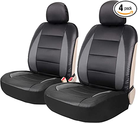 Leader Accessories 2pcs Sideless Faux Leather Seat Covers Set Universal Fit Car Trucks SUV Front Seats Black//Grey Airbag Ready with 2 Headrest Covers