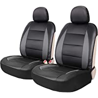 Leader Accessories 2pcs Sideless Faux Leather Seat Covers Set Universal Fit Car Trucks SUV Front Seats Black/Grey Airbag Ready with 2 Headrest Covers