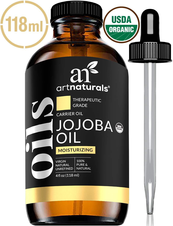 ArtNaturals USDA Certified Organic Jojoba Oil - (4 Fl Oz / 120ml) - 100% Pure Carrier Oil - Sensitive Skin - Benefits The Face Hair, Nails and Cuticle - Similar To Argan Oil