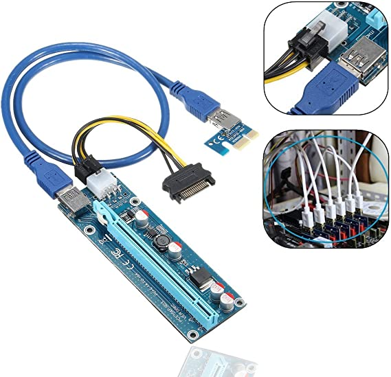 Riser PCI-E//PCI ExpressVer006C x1 to x16 scheda USB 3.0 x Schede Grafiche GPU 3 x Riser Ver006C Crypto - ATEC Mining