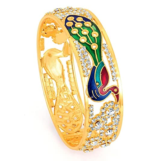 Meenakari Jewellery Sukkhi Kadaa Bracelet for Women Golden
