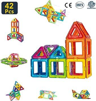 Condis 42 Piezas Bloques de Construcción Magnéticos para Niños Kit de Inicio, Juegos de Viaje Construcciones Magneticas Imanes Regalos Cumpleaños Juguetes Educativos para Niños Mayores de 3 años: Amazon.es: Juguetes y juegos