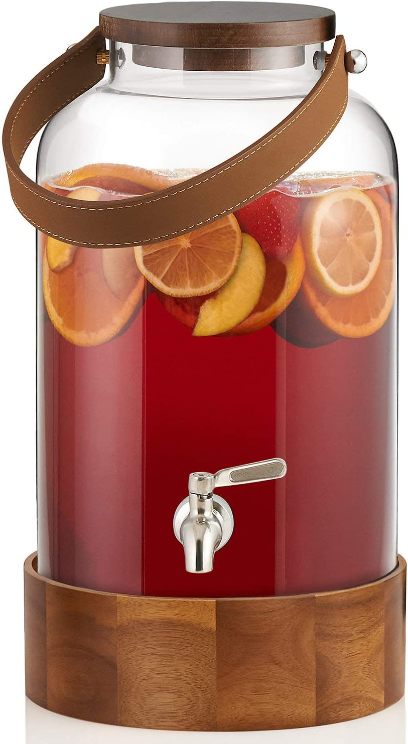 Beverage Dispenser with Acacia Wood Stand