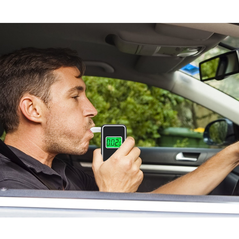 JASTEK Breathalyzer, [Upgraded Version] Professional Portable Digital  Breath Alcohol Tester with 5 Mouthpieces -Black