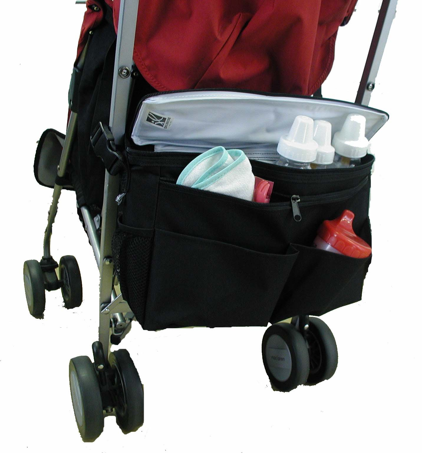 J.L. Childress Cool 'N Cargo, Universal Fit Stroller Cooler and Organizer, Insulated, Easily Attach to Stroller or Detach to use as Diaper Bag, Black by J.L. Childress