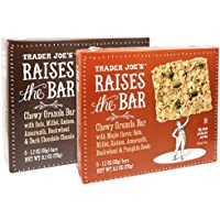 Trader Joe's Raises the Bar Gluten Free Chewy Granola Bars Variety Bundle: 2 Boxes - 1 Maple, 1 Dark Chocolate Chunk