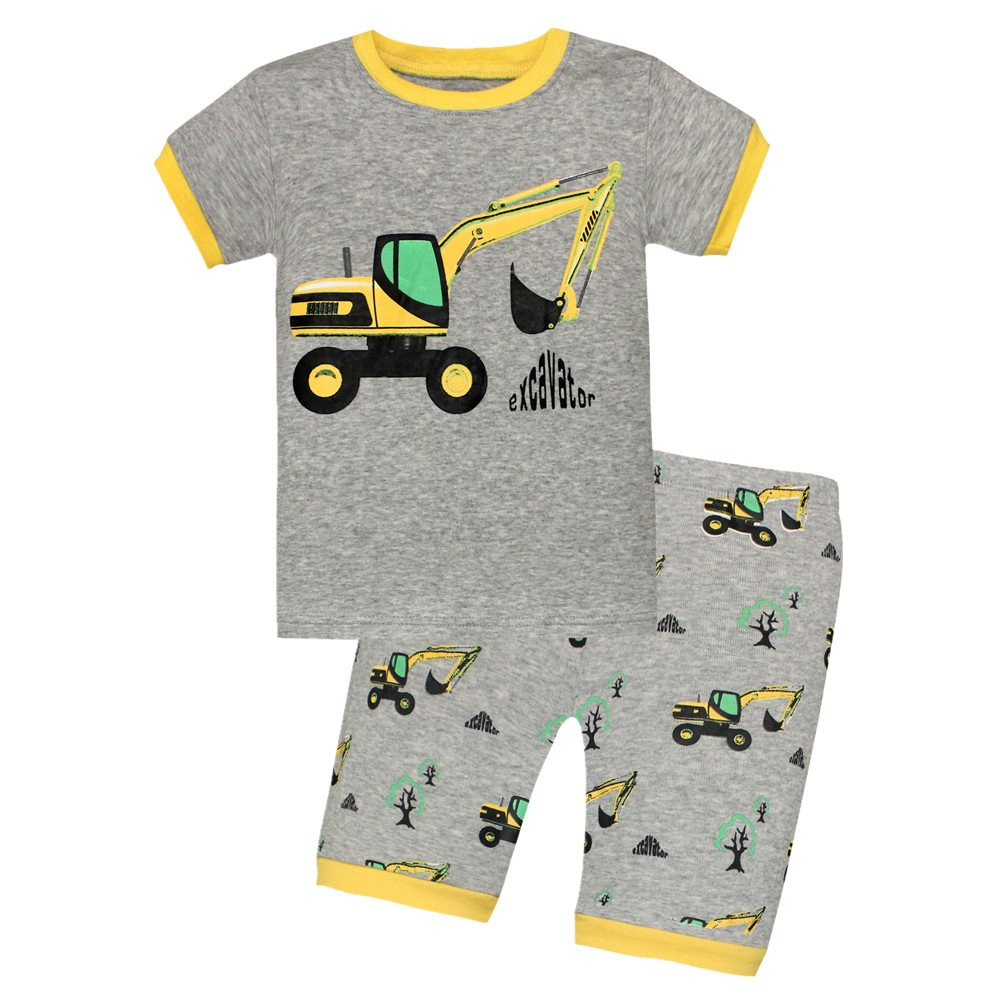 Boys Pajamas Tee and Shorts Cotton Sleepwear Clothes Set Long Sleeve Pjs (2T, 4A)