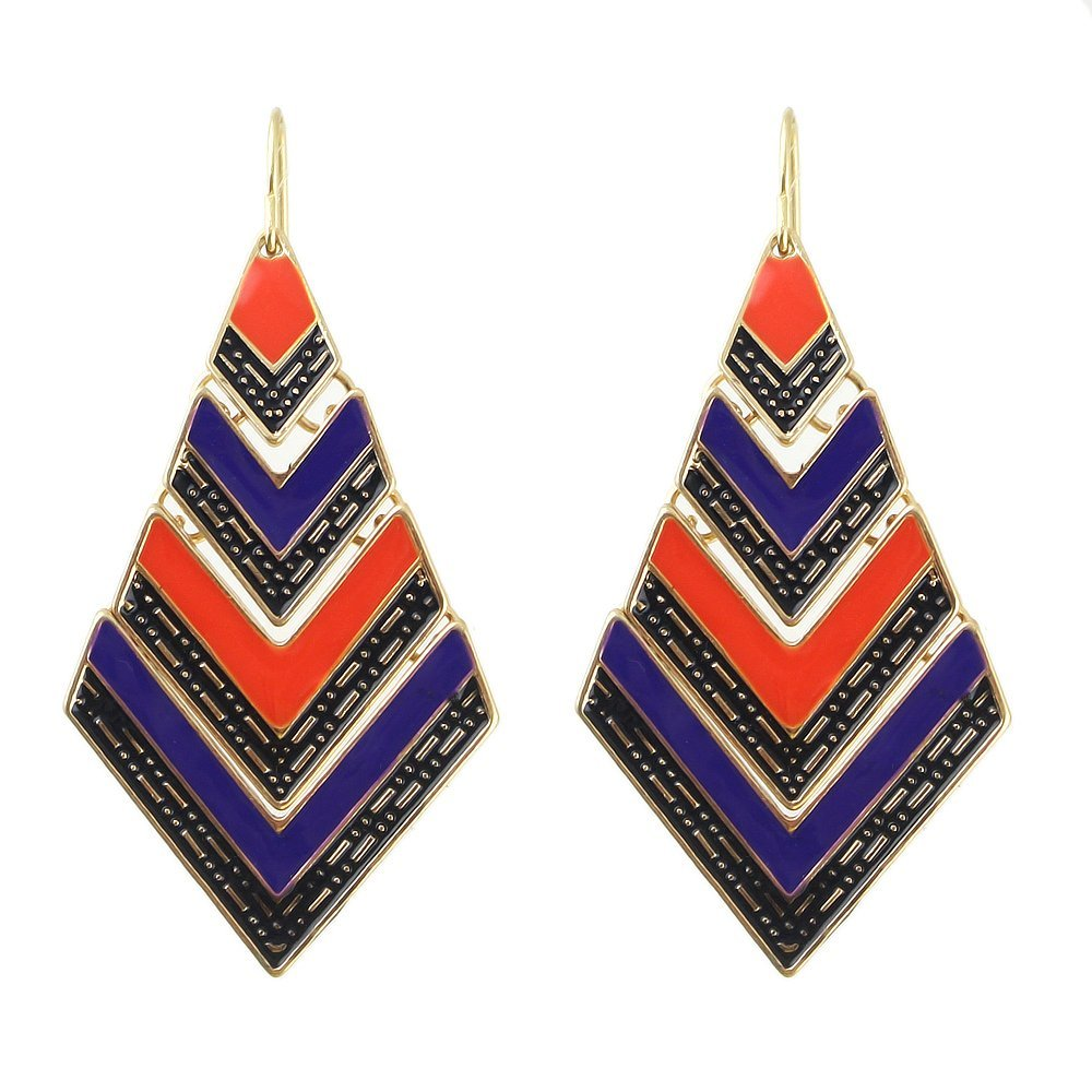 Feelontop® Bohemian Style Colorful Enamel Geometric Shape Big Drop Earrings with Jewelry Pouch Er-3834