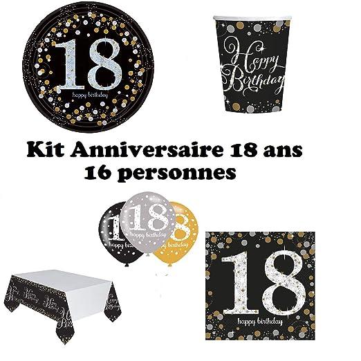 Mgs33 - Kit Completo de decoración de Mesa para 18 años (16 Platos, 16 Vasos, 16 servilletas, 1 Mantel + 6 Globos de 18 años) para Fiesta de ...
