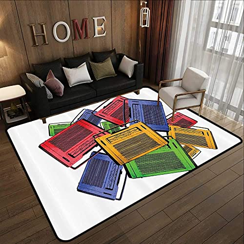 Indoor Outdoor Rugs 1960s Decorations Collection,Old Colorful Vintage Retro Radio and Antique Aged Sound Play Music History Image,Yellow Gre 78.7 x 118 Floor Mat Kitchen Long Carpet
