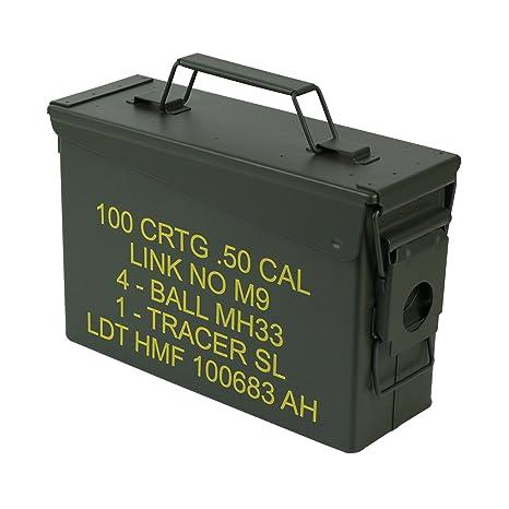 ORIGINAL US ARMY MUNITIONSKISTE METALL KAL.50 AMMO BOX TRANSPORTKISTE MUNI KISTE