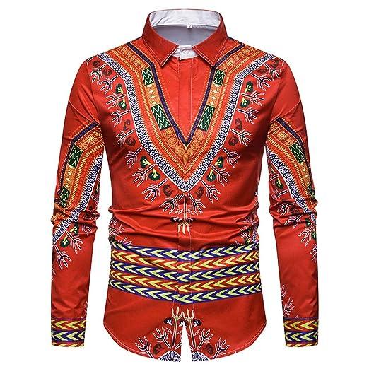 Cvbndfe Camisa de Vestir para Hombre Dashiki Vestido de Estampado ...
