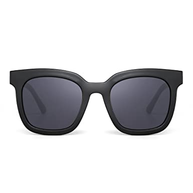 a6911f0c692 Oversized Flat Mirrored Sunglasses Designer Square Tinted Eyeglasses Women  (Black Grey)