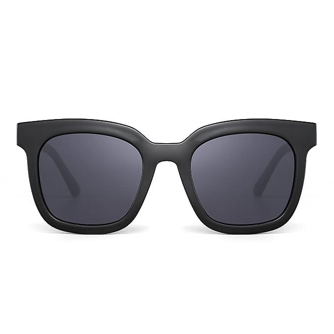 f218eaebf3b Oversized Flat Mirrored Sunglasses Designer Square Tinted Eyeglasses Women ( Black Grey)