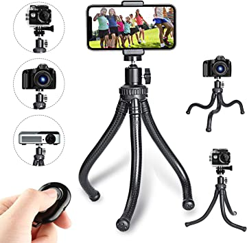 Mini Camera Tripod Stand for Cell Phone DSLR GoPro Compatible with iPhone//Android Samsung Flexible Tripod and Portable Adjustable Tripod with Wireless Remote Phone Tripod