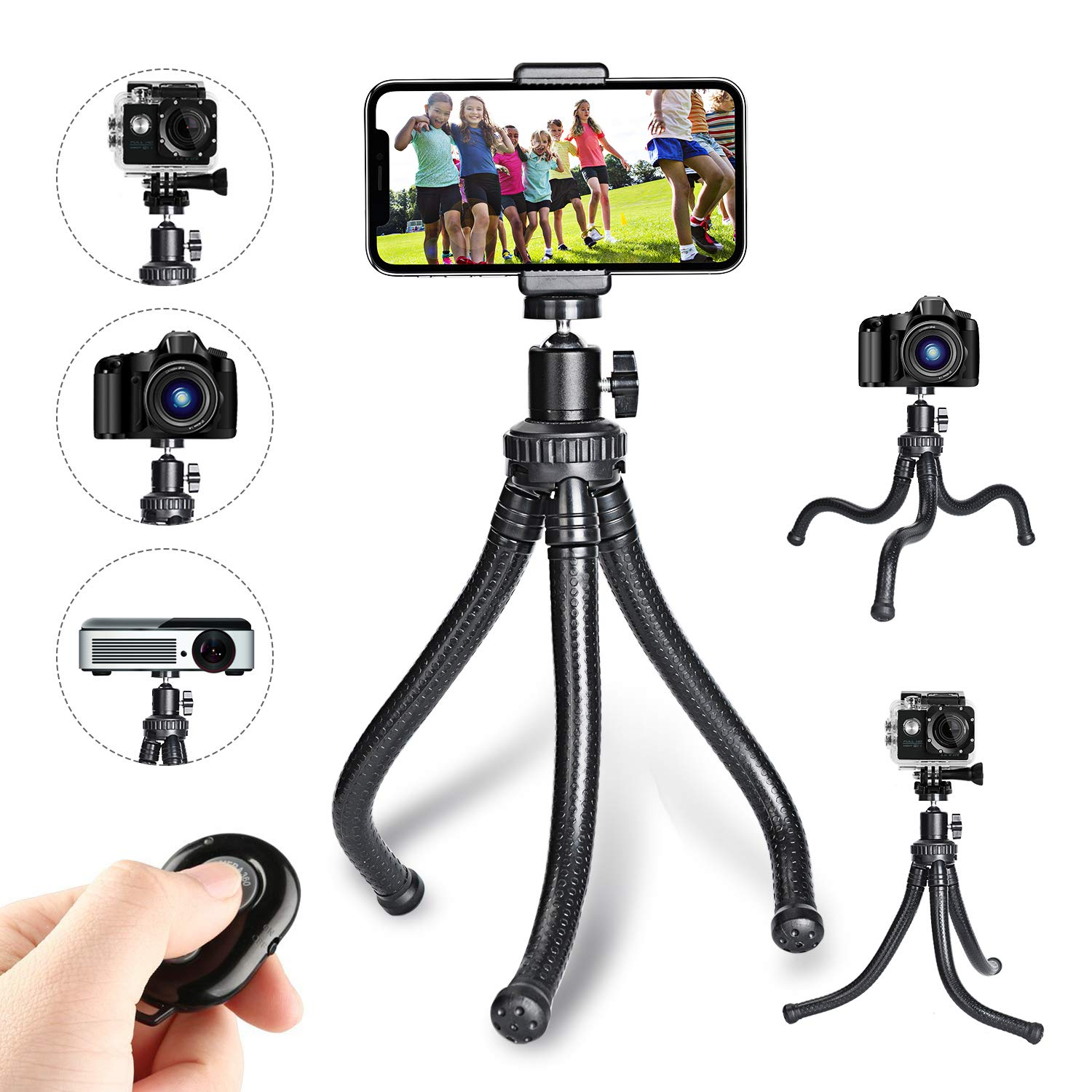 Leypin Flexible Phone Tripod,Portable and Adjustable Camera Stand Holder with Wireless Remote and Universal Clip 360°Rotating Suitable for iPhone, Android Phone, Camera, Sports Camera GoPro