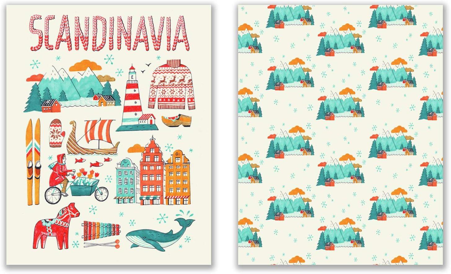 Scandinavian Travel Art Prints - Set of 2 (11x14) Inches Folk Art Hygge Swedish Danish Norse Finnish Wall Art Decor Minimalist Contemporary - Whale - Mountains - Sweaters - Longship
