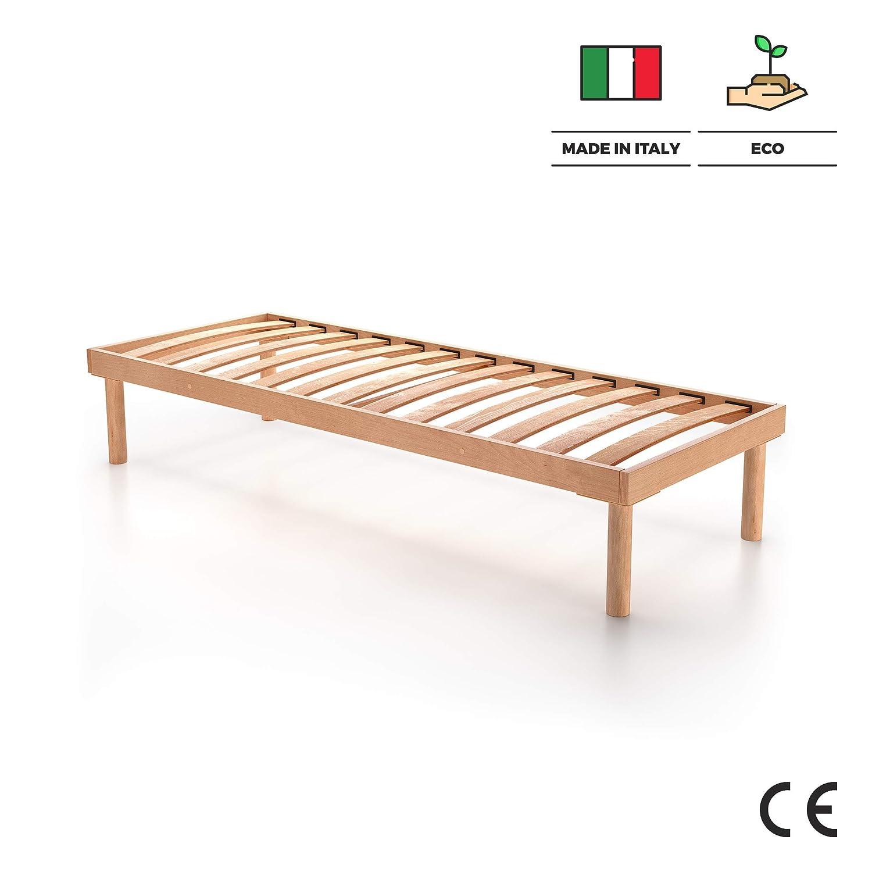 Mobili Fiver Made in Italy Rete a doghe in Legno Singola 80X190 Altezza Totale 36 cm Multistrato di Faggio